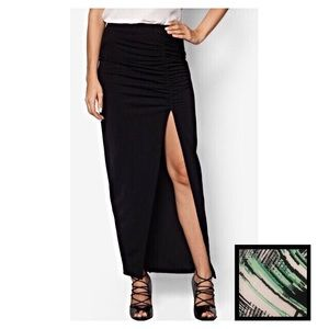 Ruched maxi skirt with slit